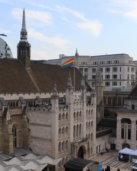 Pride Flag flying above Guildhall in 2017